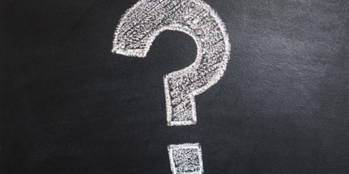 Question mark drawn on a chalk board