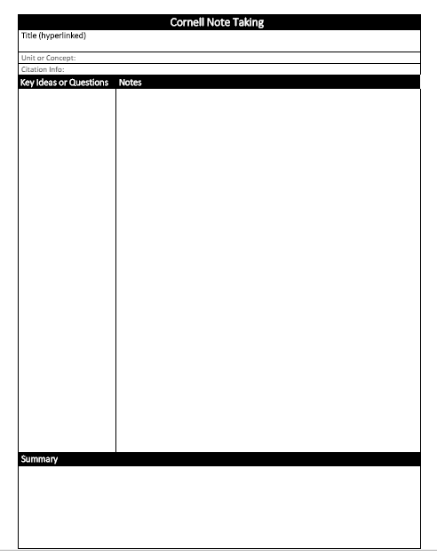 Preview of Cornell note taking template.