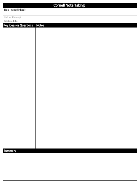 Preview of the cornell note taking template.