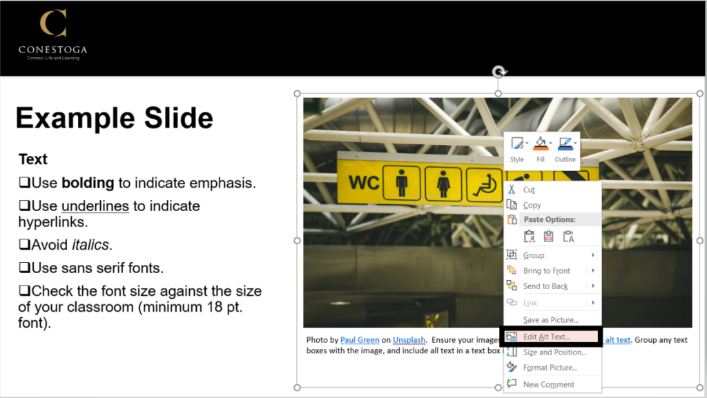 Example slide showing the right click menu on an image, and the edit alt text option.