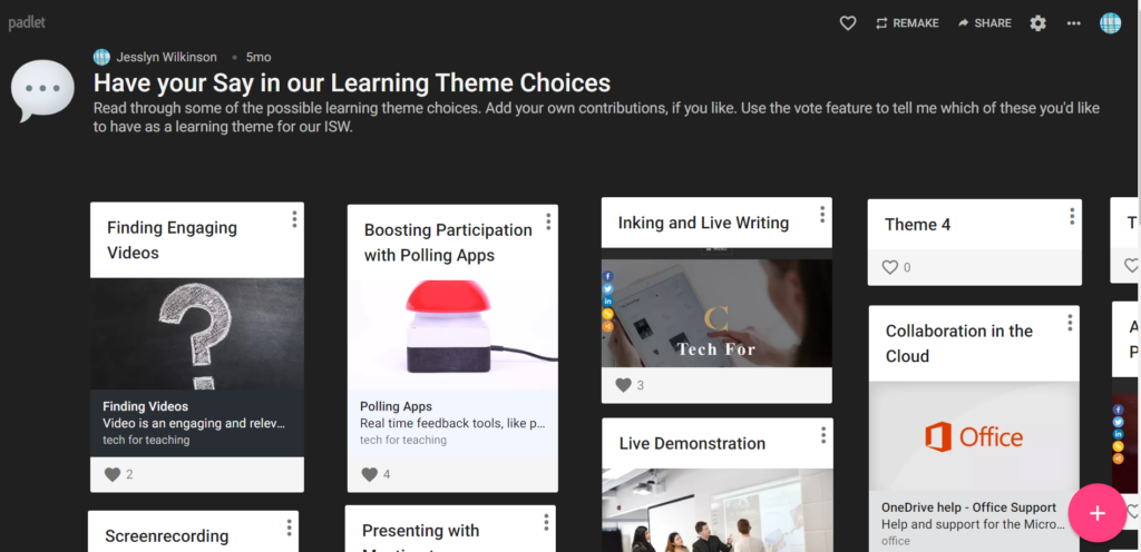 padlet idea sharing activity, asking learners for their choices in learning topics