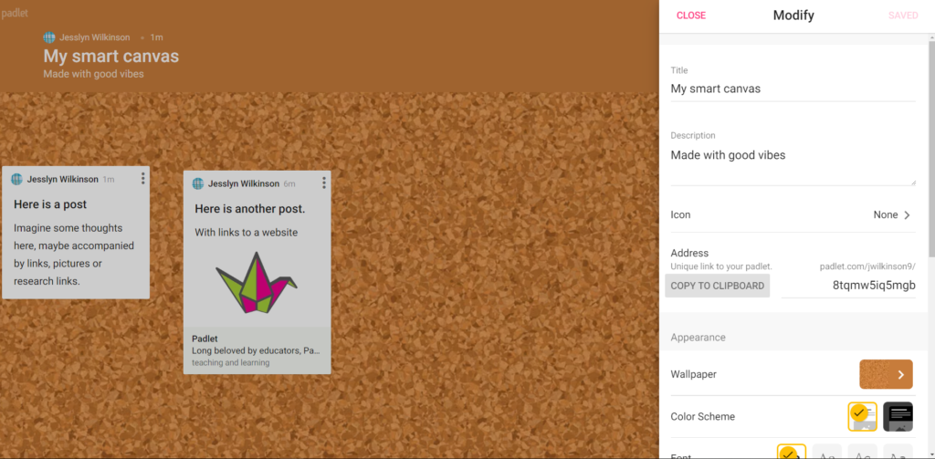 """padlet with settings window open and """"copy to clipboard"""" selected."""