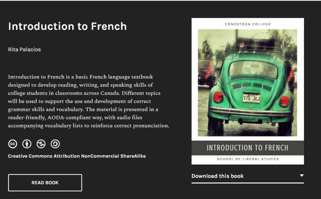 preview of Introduction to French OER - click to visit the text.