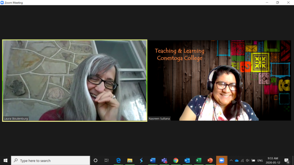 Laura Stoutenburg and Nasreen Sultana in a Zoom meeting