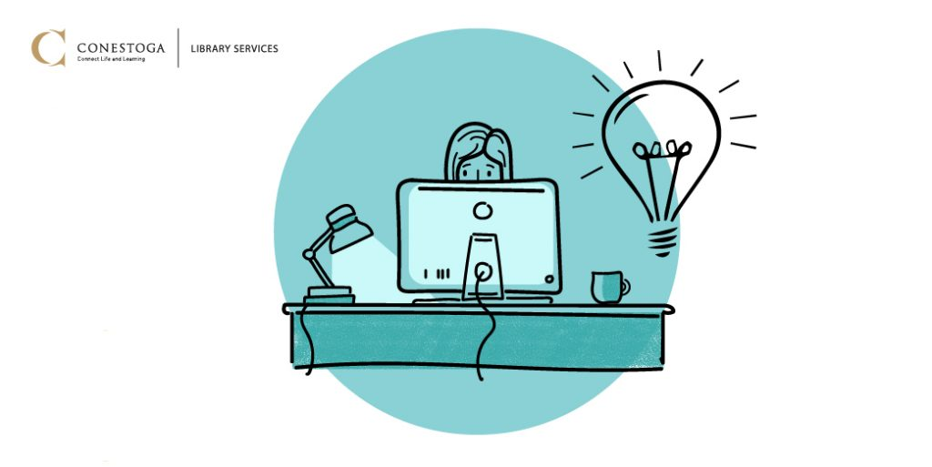Person working at a computer, with a lightbulb icon that demonstrates learning and bright ideas