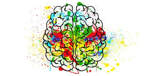 Drawing of a brain with splashes of colour