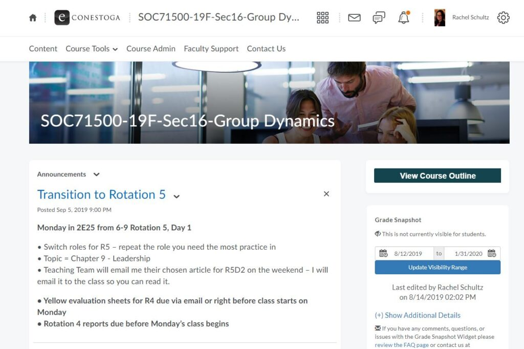 eConestoga landing page for Group Dynamics (SOC75100) course.