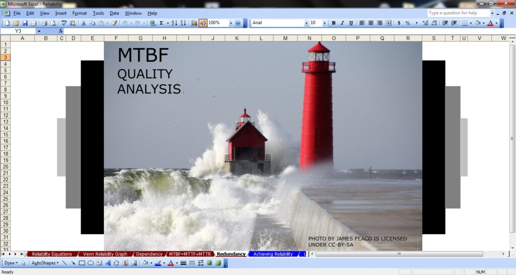 A screenshot of an Excel workbook with a lighthouse and waves crashing around and behind it. The image says MTBF Quality Analysis. Photo by James Peaco is licensed under CC-BY-SA
