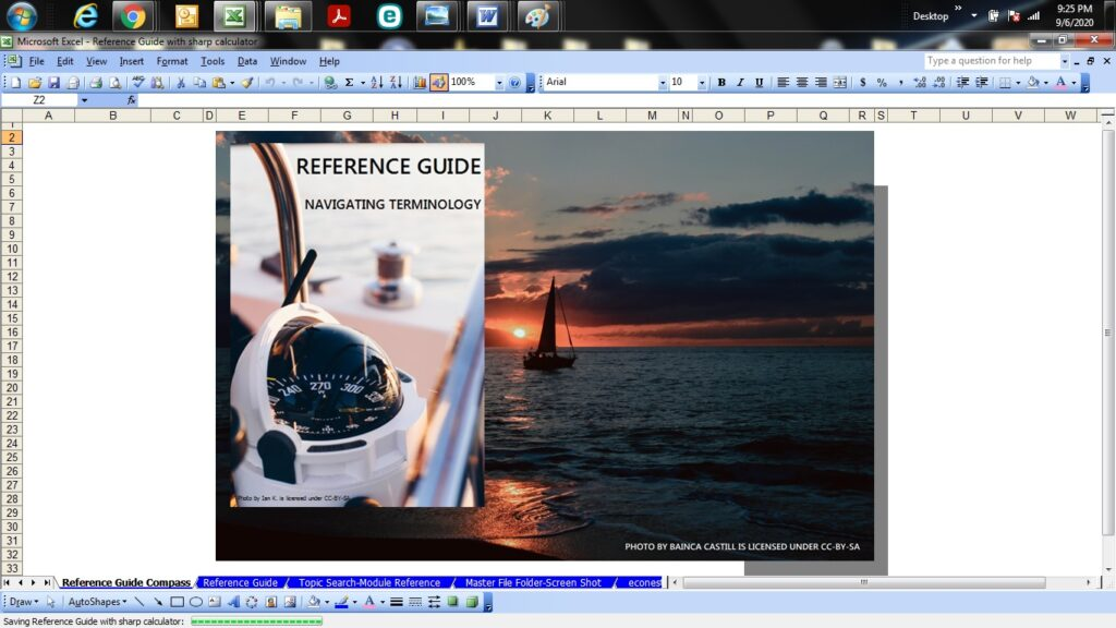 A screenshot of an Excel Workbook containing a photo of a sailboat sailing into the sunset. A second photo is overlaid with a compass. The image says Reference Guide: Navigating Terminology. The compass photo is By Ian K and licensed under CC-BY-SA. The ship photo is by Bainca Castill and licensed under CC-BY-SA