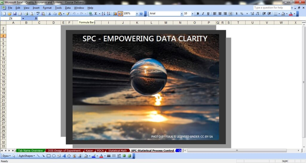 A screenshot of an Excel workbook with a an upside down image of the sky, sun, water and sand, with a mirror ball in the front view whose reflection shows the scene right side up. Title says SPC - Empowering Data Clarity. Photo by FSKAI is licensed under CC-BY-SA