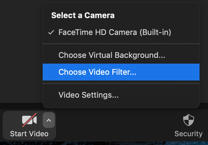 "Close up of Video Filter Option in Zoom, with ""Choose Video Filter"" highlighted"