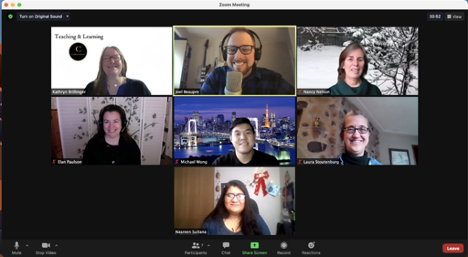 Screenshot of 7 people, members of Conestoga's Teaching & Learning Department, in a Zoom meeting. All participants have different but professional backgrounds, and are facing the camera directly in well-lit locations