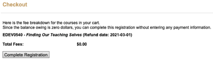 Screenshot of signup page. Checkout window. A Total Fee of $0.00