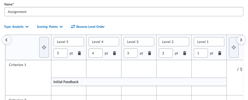 Screenshot of eConestoga rubric with 5 levels