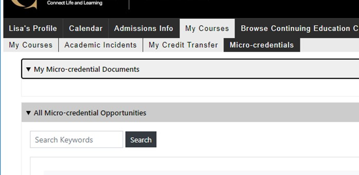 """The micro-credential section of the Student Portal. This section is accessed through the """"My Courses"""" tab, on which you can retrieve a micro-credential after completing its required courses."""